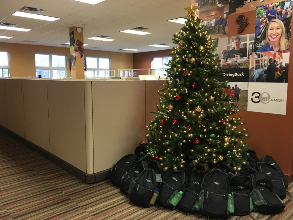 Backpacks under the tree