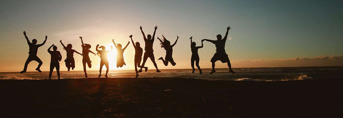 People jumping for joy
